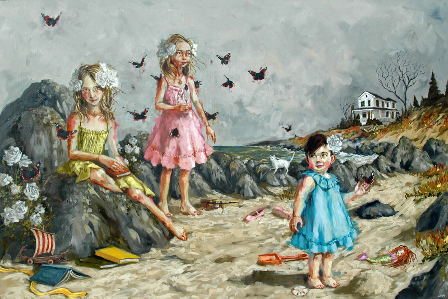 """Daughters oil on panel 24""""x36"""""""